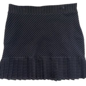 Pleated Pin Stripe Full Mini Skirt